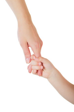 kids holding hands: Father giving hand to a child isolated on white background Stock Photo