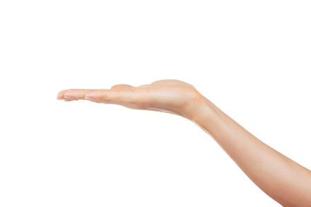 Ffnen Sie die Hand einer Frau, Handfläche nach oben isoliert auf weißem Hintergrund Standard-Bild - 36194260