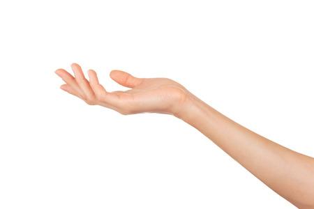 Primer plano de la mano de la mujer hermosa aislado sobre fondo blanco. Palma hacia arriba Foto de archivo - 36194266