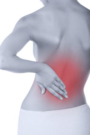 mujer desnuda de espalda: Mujer con dolor de espalda aislado en fondo blanco Foto de archivo