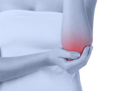 codo: Mujer con dolor en el codo aislado sobre fondo blanco. Vista frontal Foto de archivo