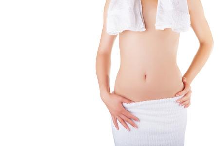 Beautiful breasts: Đẹp một phần cơ thể womans đeo khăn trắng bị cô lập trên nền trắng
