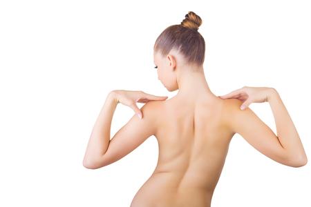 mujer desnuda de espalda: Espalda de la mujer hermosa, aisladas sobre fondo blanco