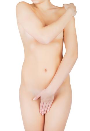 corps femme nue: Beau corps de femme nue, isol� sur fond blanc