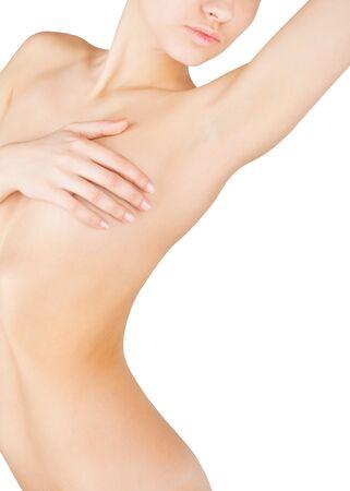mujer sexi desnuda: Hermoso cuerpo femenino desnudo aislado en fondo blanco Foto de archivo
