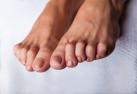 footcare: Close-up of beautiful manicured feet with pedicure