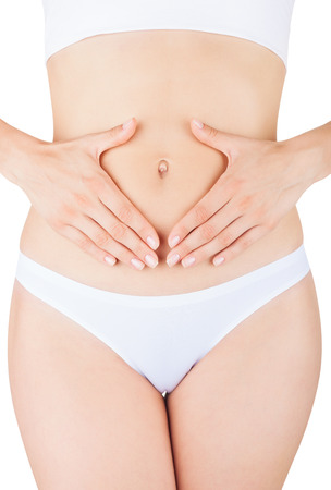 ill abdomen: Closeup on woman Stock Photo