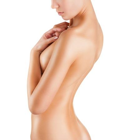 mujeres desnudas: Mujer joven bien peinado aislado sobre fondo blanco