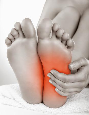 feet naked: Heel pain in women. Pain concept Stock Photo