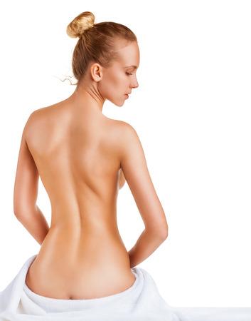 corps femme nue: Belle corps de la femme mince isolé sur fond blanc. Vue arrière