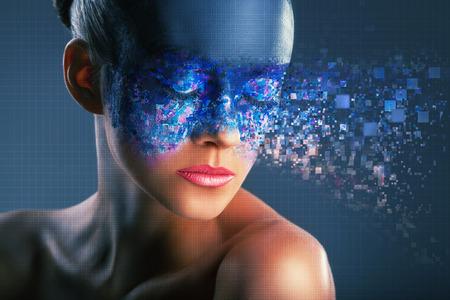 灰色の背景にカラフルなメイクアップを持つ若い女性の肖像画