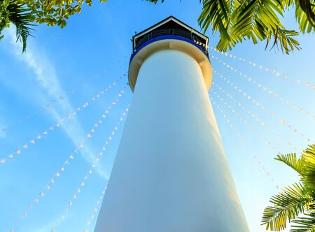 the view from below: Closeup of lighthouse tower view from below Stock Photo