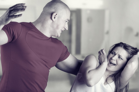 abusive: Woman victim of domestic violence and abuse. Husband beats his wife