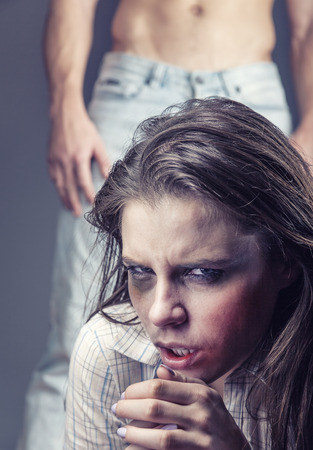 domestic: Fear of woman victim of domestic violence and abuse