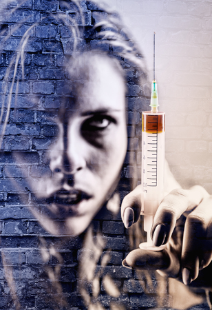 heroin: Double exposure of a young woman with drug addiction and an old brick wall