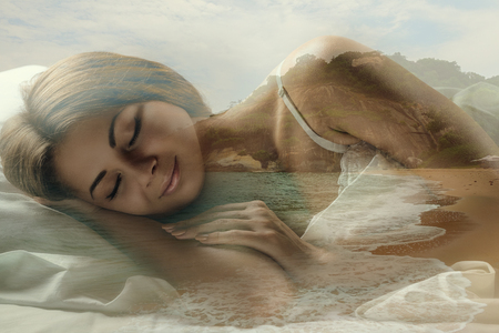 wellness sleepy: Double exposure of young attractive woman sleeping in bed and the beach. Sweet dream