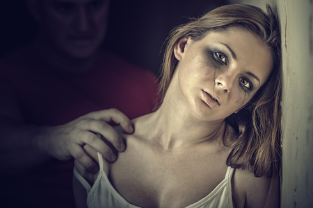 violence: Woman victim of domestic violence and abuse. Tears of a young woman