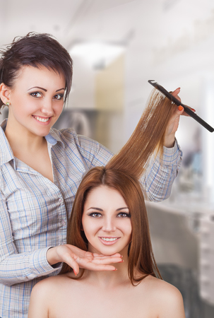 Hairdresser working with a client in a beauty salon