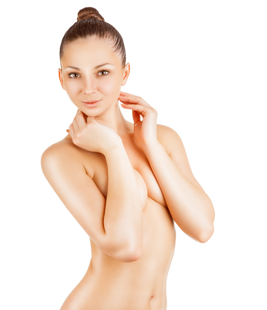 naked woman  white background: Beautiful slim woman covers her bare breasts. Isolated on white background