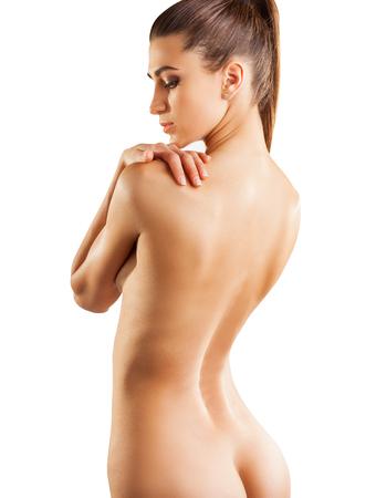 fille sexy nue: Le corps d'une belle jeune femme sur fond blanc