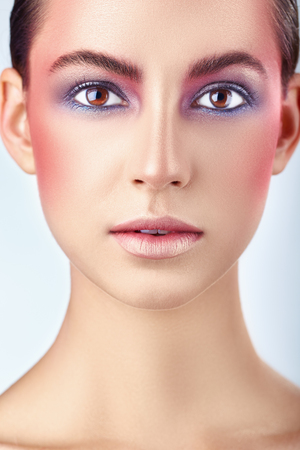 Glamour portrait of beautiful woman model with bright pink make-up. Fashion make-up Stock Photo
