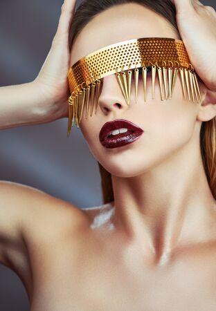 Vogue style fashion model portrait. Jewelry
