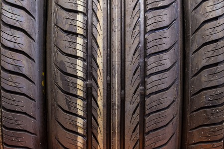 New winter tire sold in the shop (close up) Stock Photo