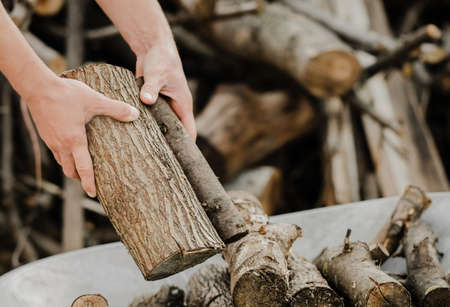 Mens hands close-up put sawn-off logs. Ecological and forestry concept. Logs for the bath. Household chores. Stok Fotoğraf