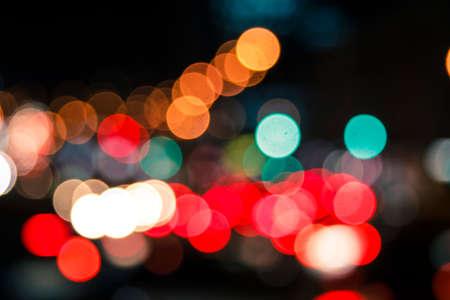 cinematic  bokeh of car lights, open aperure