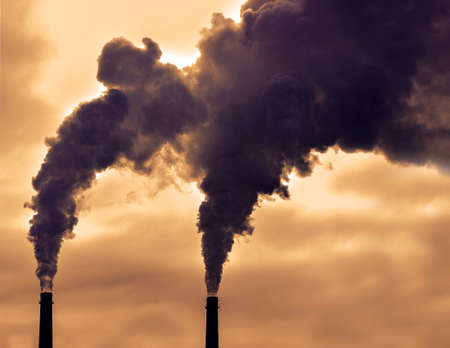 Poisoned emissions from towers. Poisonous violet emissions from the production of goods