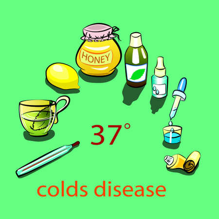 colds: illustration of herbal tea, lemon, thermometer, honey, medicine, cough syrup, drops for the nose and ointment in a tube for colds.