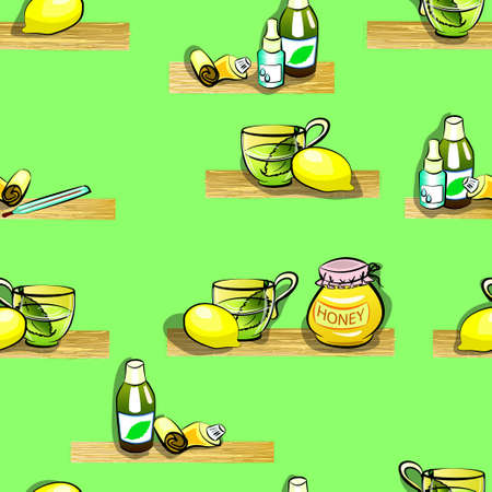 runny: illustration of herbal tea, lemon, thermometer, honey, medicine, cough syrup and ointment in a tube . for colds. Seamless pattern.