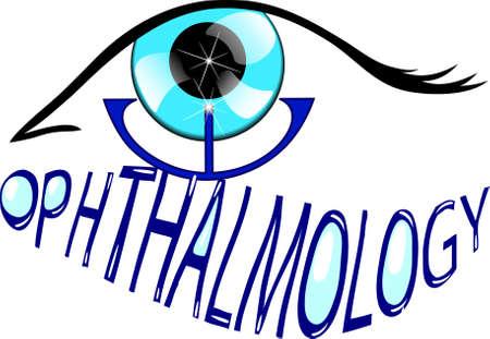ophthalmology: Illustration of eye care. Ophthalmology icon. symbol
