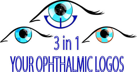 oculist: illustration of three ophthalmic, signs or symbols