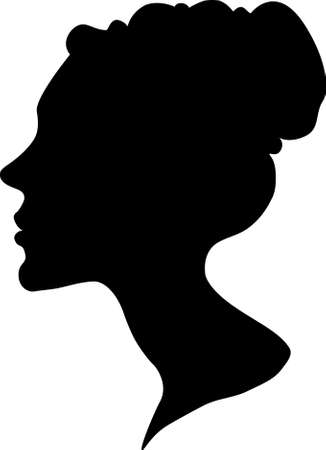 fine: silhouette of a female head and face with fine hair