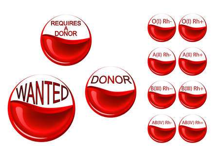 rh: illustration of red blood cells, half-filled with blood and the words a donor