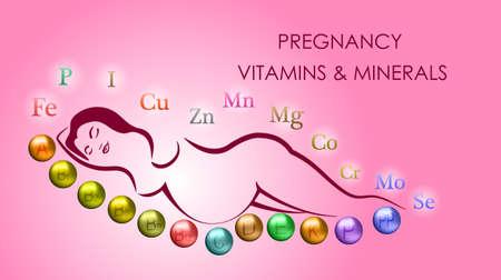 emblem for drugstore or medicine: ILLUSTRATION OF PREGNANT WOMAN. VITAMINS AND MINERALS