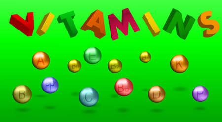 emblem for drugstore or medicine: ILLUSTRATION OF VITAMINS AND INSCRIPTION 3D. sphere - ball Illustration