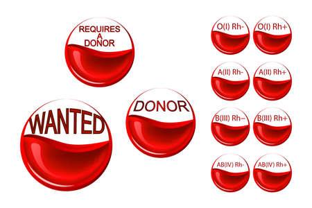 Ilustraciones de las células rojas de la sangre, medio lleno de sangre y las palabras de un donante Foto de archivo - 56937823