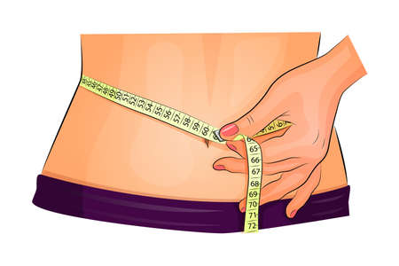 body dimensions: illustration of a female measuring waist with measuring tape