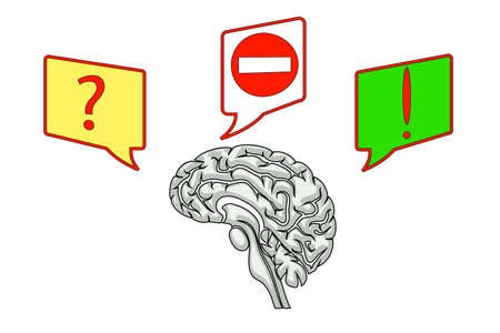 hypnotism: brain illustration with icons of questions and ideas
