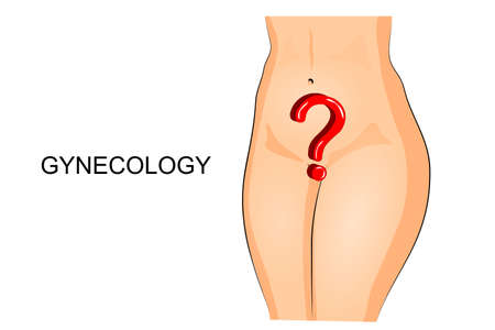 illustration of a female pelvis and a question mark. gynecology