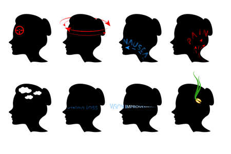 painfully: illustration of symptoms of pains in the head. icons Illustration