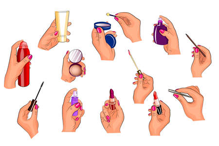 illustration of hands holding different cosmetics. lipstick, shadows,cream, powder. Çizim