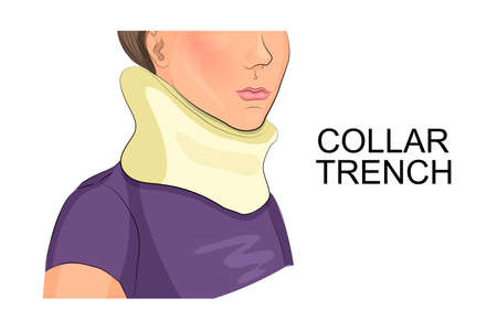 illustration of a girls neck in the collar of the trench