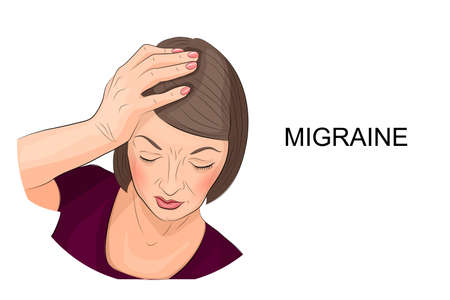 tiredness: illustration of a woman suffering from migraine Illustration