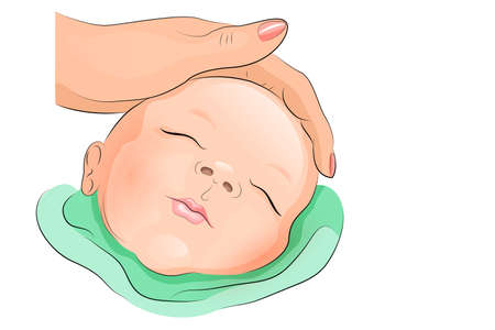 paediatrics: illustration of a sleeping baby and hand the mom pats him on the head