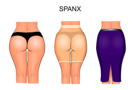 illustration of women's and thighs to tight underwear. spanx