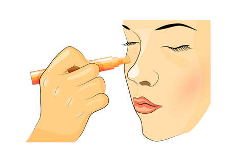 illustration of blending makeup. The girls face, Foundation, concealer
