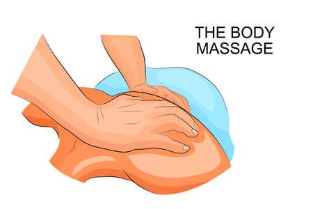 illustration des mains d'un chiropraticien et le dos du patient